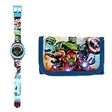 Kids Licensing |Reloj Digital + Billetera para Niños | Reloj Avengers | Billetera Avengers | Set Reloj y Billetera Infantil | Reloj de Pulsera Infantil | Caja Decorada para Regalo| Licencia Oficial