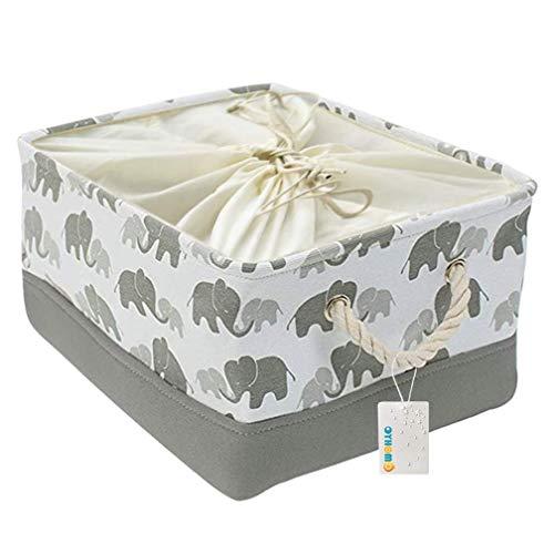 MissZZ Storage Basket Foldable Grey Elephant Rectangle Storage Box Thickened Canvas Fabric Storage Bin with Drawstring for Towels, Toys, Shelf - Large