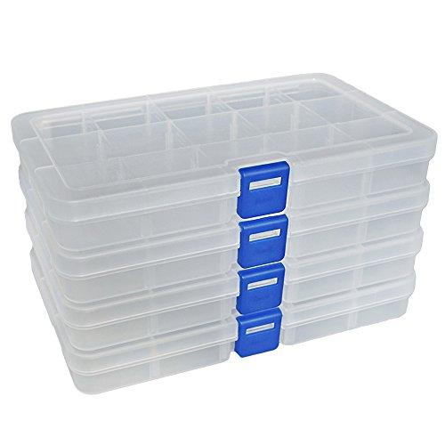 DUOFIRE Ajustable Caja de Almacenamiento de plástico Joyería Organizador Contenedor de Herramientas...
