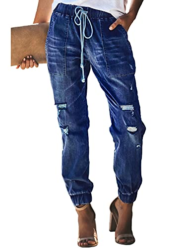 Sidefeel Women Distressed Denim Joggers Elastic Drawstring Waist Jeans Pants Large Blue