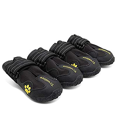 TRUE LOVE Dog Shoes Waterproof Anti-Slip Rain Boots with Reflective TLS3961 (Black,7#)