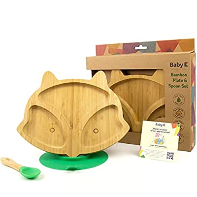 BABY K Bamboo Baby Plates with Suction and Toddler Utensils Set (Spoon and Fox Green Set 2) - Bamboo Toddler Plates and Spoons for Self Feeding - BPA Free Silicone - Divided Portion Control Plate from BABY K
