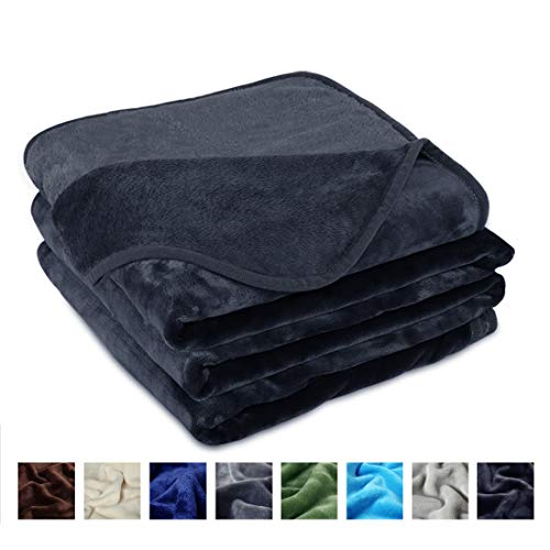 EDILLY Flannel Fleece Luxury Queen Size Blanket for The Bed Lightweight Cozy Plush Microfiber Solid Blanket for All Season(Dark Gray Queen)