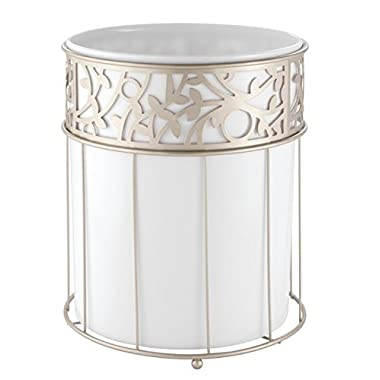 mDesign Decorative Round Small Trash Can Wastebasket, Garbage Container Bin for Bathrooms, Powder Rooms, Kitchens, Home Offices - White Plastic, Steel Wire Frame in Satin Finish