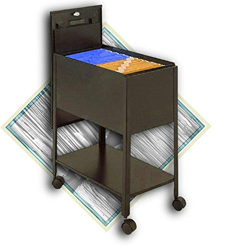 Rolling File Cabinet with Lid, Mobile Cart for Letter Size-Hanging Files with 4 Wheels, Storage Letter Files Organizer,Heavy Duty Locking Moveable Cart with Casters