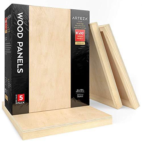 Arteza Lienzos de madera para pintar (20,3 x 25,4 cm), pack de 5 paneles de madera de abedul para pintura, arte encáustico, vertido,óleo, pirograbado o acuarelas, con marco de pino de 1,9 cm de fondo