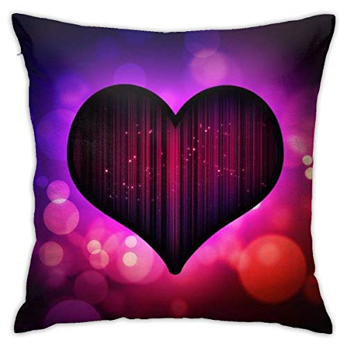 Throw Pillow Cover Cushion Cover Pillow Cases Decorative Linen Heart Love Black for Home Bed Decor Pillowcase,45x45CM