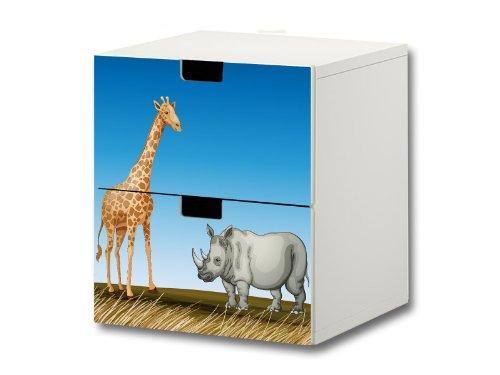 Animales africanos pegatinas muebles | S2K16 | adecuado para la cómoda con 2 cajónes STUVA de IKEA | (mueble no incluido) STIKKIPIX