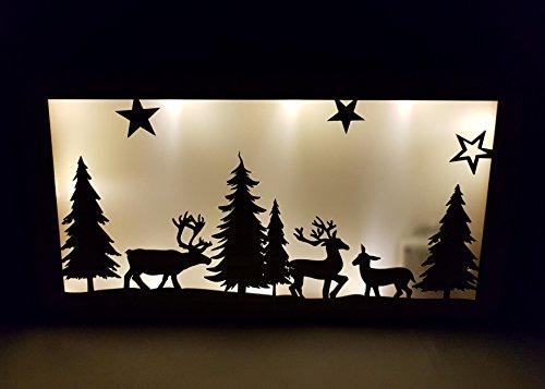 LED kerstdecoratie hertenfamilie - 35x18 cm - hout raamdecoratie verlicht met hologram folie