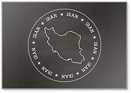 Islamitische Republiek Iran Kaart op een school Blackboard. Grunge Rubber Seal Illustration Koelkast Magneet