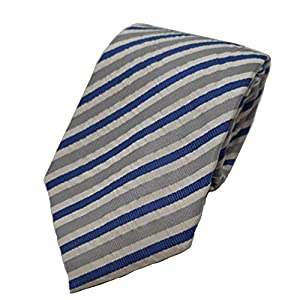 サッカー しじら織りシルクストライプネクタイ 絹 日本製 夏素材 軽いネクタイ ビジネス おしゃれ クールビズ (ブルー)