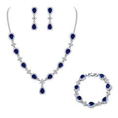 ♥Material: Made of Gorgeous & Sparking Cubic Zirconia, crafted with eco-friendly brass, this silver-tone Teardrop V-necklace sets shines with grace and beauty. Wearingit will make you more eye-catching in important occasions. ♥Size: CZ Color: Sapph...