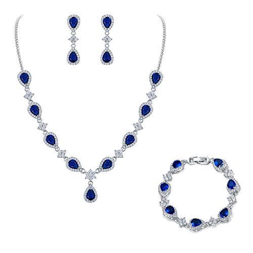 EleQueen Women's Silver-Tone Cubic Zirconia Teardrop Flower Bridal V-Necklace Sets Tennis Bracelet Dangle Earrings Sapphire Color