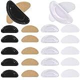 メガネ鼻パッド シール 柔らかい シリコン メガネずり落ち防止 眼鏡鼻パット 痛み防止高さ調節 中空構造 色素沈着予防に 男女性兼用 黒6組+透明6組12組セット 収納ケース ピンセット クロス付