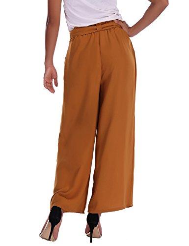 Abollria Damen Weite Hose Chiffon Paperbag Hose Casual Hosen Weite Bein Hohe Taille mit breiter Gummibund und Gürtel - 5