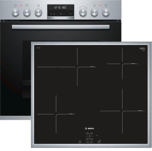 Bosch HND675LS65 Herd-Kochfeld-Kombination (Einbau) / A / 59,4 cm / Edelstahl / Backwagen / AutoPilot 30 / Pyrolyse / Induktion / weißer LCD-Display / Umlaufender Rahmen