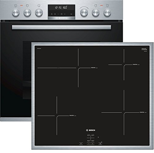 Bosch HND675LS65 Herd-Kochfeld-Kombination (Einbau) / A / 59,4 cm / Edelstahl / Klapptür / LCD-Display / Pyrolyse / Induktionskochfeld (herdgesteuert) / 4 Induktions-Kochzonen / Umlaufender Rahmen