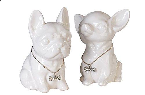Spardose Hund Französische Bulldogge Comics, hoch aus weißer Keramik Rustikal