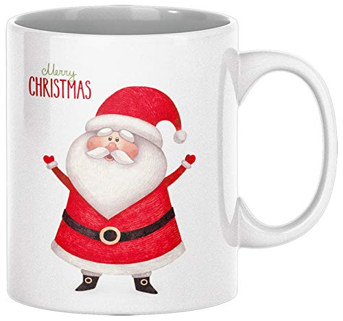 ArtUp.de Weihnachtstasse Weihnachtsmann - Tasse Kaffeebecher zu Weihnachten - Kaffeetasse Teetasse aus Keramik in Weiß - ca. 330 ml spülmaschinengeeignet - in Handarbeit in Deutschland Bedruckt
