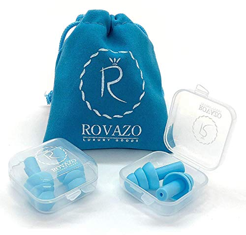 Reusable Silicone Ear Plugs - 2 Pairs - NRR 32, Waterproof,...