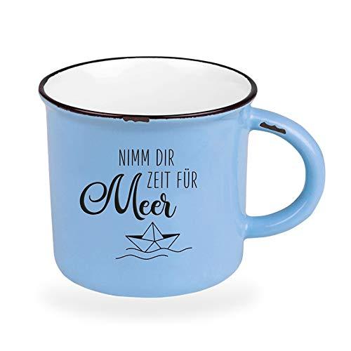 Kaffeetasse vintage| Keramik Becher zum verschenken | 400 ml | maritim | Nimm dir Zeit für Meer