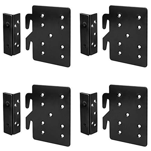 GBGS 4 Sets Bed Frame Bed Post Double Hook Slot Bracket, Cold Rolled Steel 5' ×4¼', Thickness 2 mm,Heavy Duty for Bed Rail Hooks Plates Bed Accessories