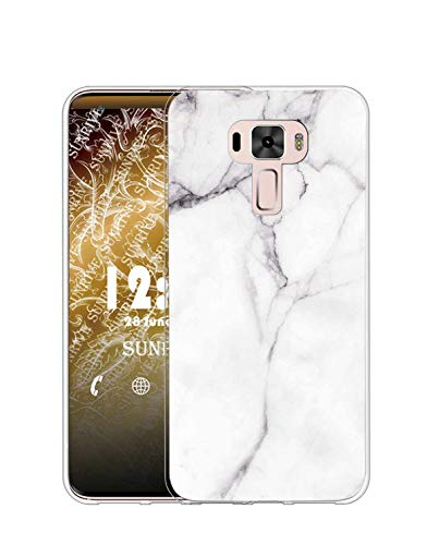 Sunrive Kompatibel mit Asus Zenfone 3 ZE520KL Hülle Silikon, Transparent Handyhülle Schutzhülle Etui Hülle (TPU Marmor Weißer)+Gratis Universal Eingabestift MEHRWEG