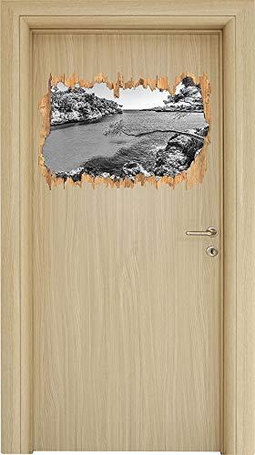 Pegatinas de pared Vista idílica del Mediterráneo en Mallorca Bay Cove arte avance en madera en apariencia 3D etiqueta de la pared o de la puerta etiqueta de la pared decoración de la pared 62x42cm