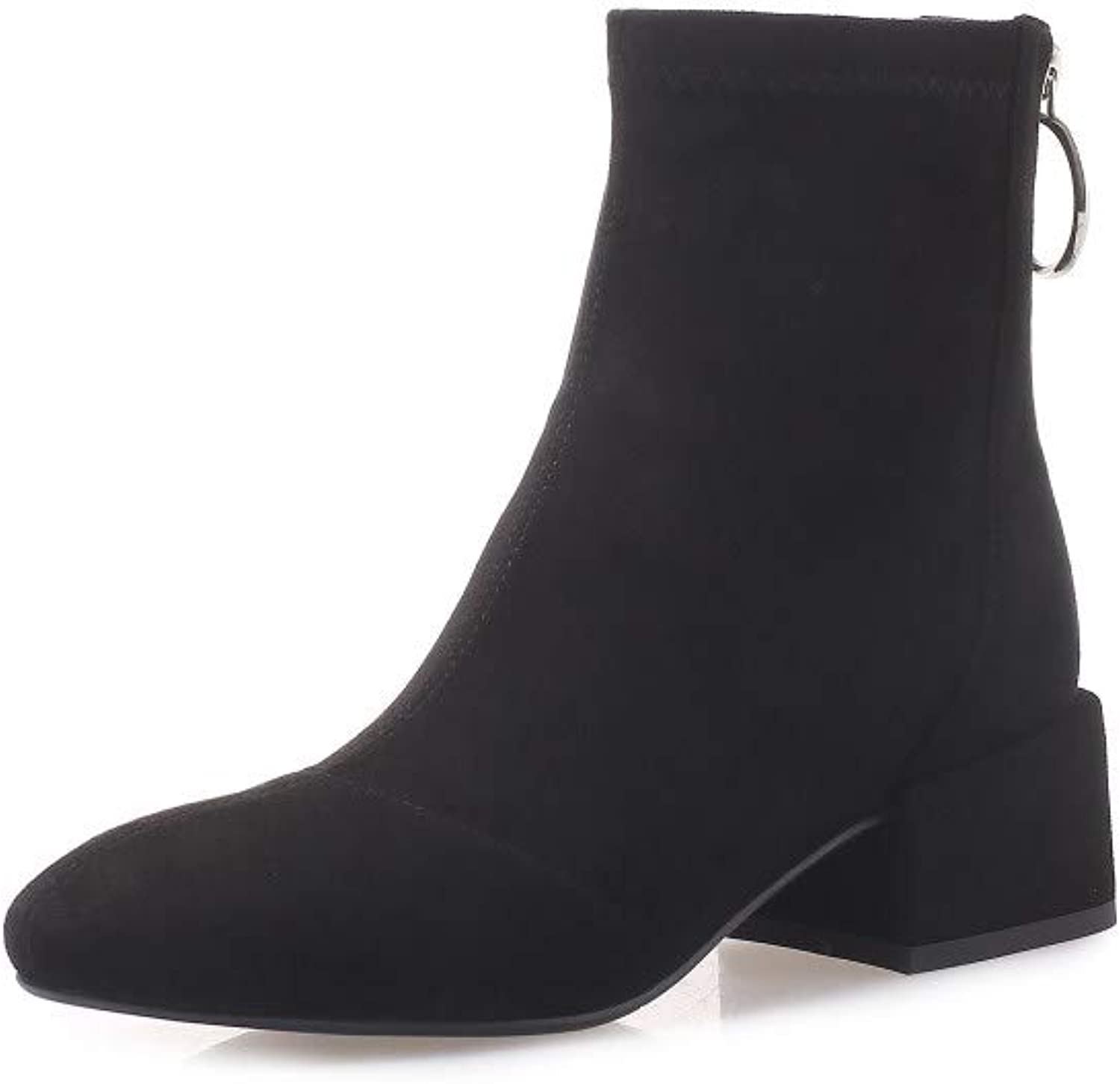 Nine Seven Women's Suede Leather Classic Round Toe Low Chunky Heel Handmade Casual Back Zipper Comfortable Walking Dress Ankle Booties
