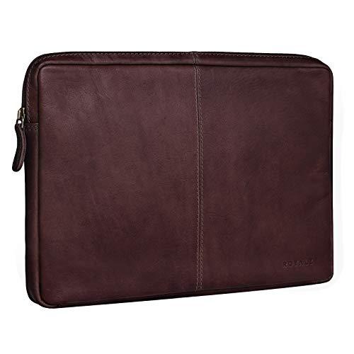 ROYALZ Tasche Leder für Samsung Galaxy TabPro S Ledertasche 12 Zoll (kompatibel mit Tastatur) Lederhülle Schutztasche Schutzhülle Sleeve Cover Vintage, Farbe:Braun