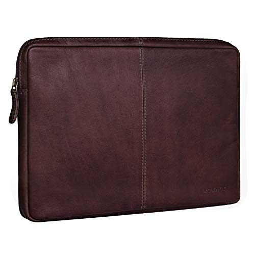 ROYALZ Tasche für Lenovo Yoga A12 Ledertasche (12,2 Zoll) Lederhülle Hülle Schutztasche Schutzhülle Cover Sleeve Mappe Folio Retro Vintage Leder, Farbe:Braun