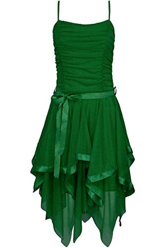 Fast Fashion Frauen Kleid Plain Zickzack Chiffon Prom Party Saum Mit Rüschen Gürtel Tie