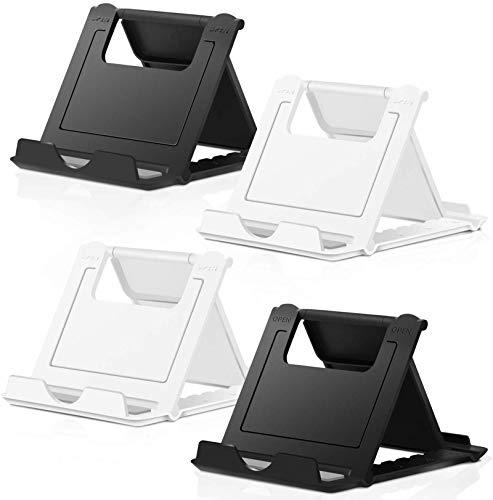 COOLOO Verstellbarer Handy-Ständer für den Schreibtisch, 4 Stück, für Smartphones und Tablets, universell, faltbar, Multi-Winkel-Halterung (mehrfarbig)