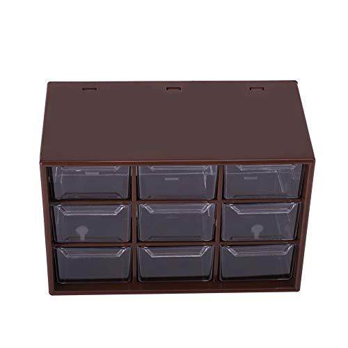Organizador de gabinetes de Almacenamiento de 9 cajones múltiples.Organizador de Escritorio con 9 cajones de gabinetes Transparentes de celosía. Joyero de plástico (marrón)