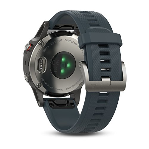 Garmin Fēnix 5 - Montre GPS Multisports Outdoor - Argent avec Bracelet Bleu Granite