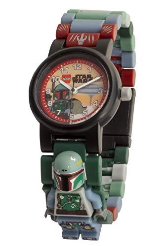 Armbanduhr Lego Star Wars - Boba Fett, inklusive 12 zusätzlichen Armbandgliedern, Lego Minifigur im Armband integriert, analoges Ziffernblatt, kratzfestes Acrylglas