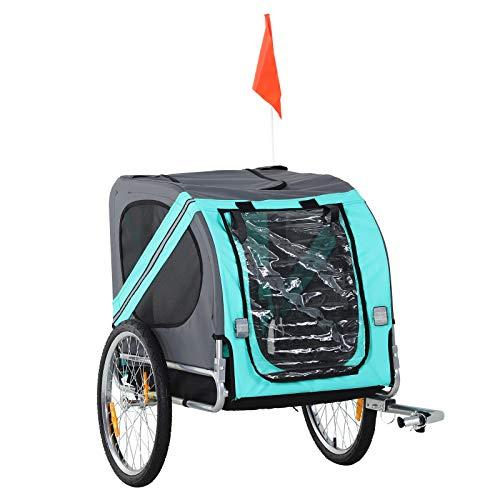 Pawhut Remolque Bicicleta Perros Mascota con Anillo Bandera Reflector de Seguridad Remolque Bici Cabina 78x55x65cm