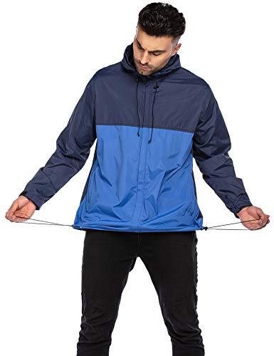 Unibelle heren regenjas lichte korte jas windbreaker jas regenjas overgangsjas met capuchon winddicht Hiker Camping Outdoor vrijetijdsjas