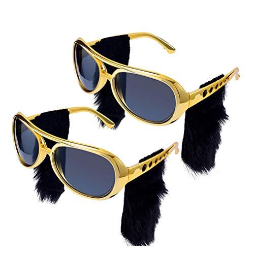 Yissma 2PCS Gafas de Sol Elvis Rock Gafas de Sol con Barba Atada Retro 70's Dressing Up - Oro
