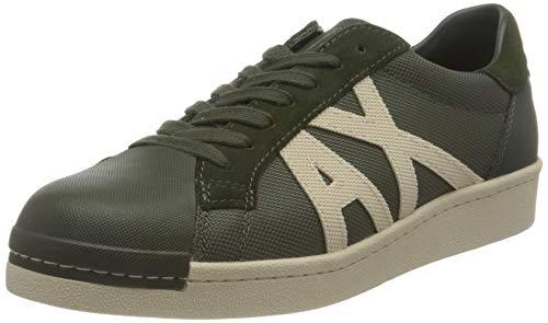 Armani Exchange Old School Sneakers, Zapatillas Hombre, Dark Green, 43 EU