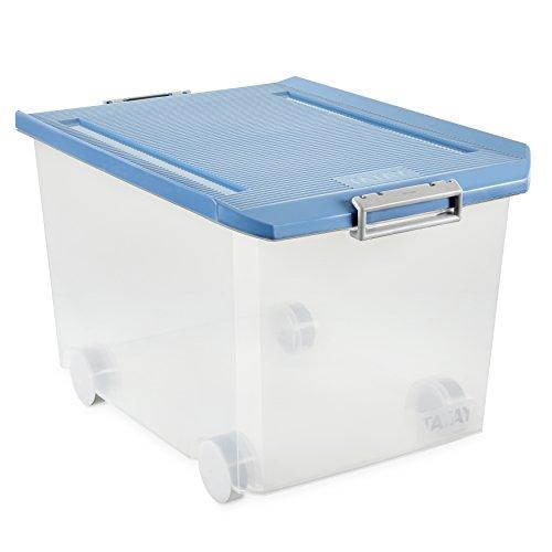 Tatay 1150307 Caja de Almacenamiento Multiusos con Tapa y con Ruedas 60 l de Capacidad plástico Polipropileno Libre de bpa, Azul, 40 x 56,5 x 36,2 cm