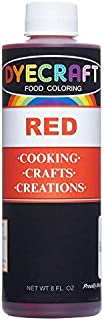 DyeCraft Red Food Coloring (LARGE 8 oz Bottle) Odorless, Tasteless, Edible - Perfect for Baking, Cooking, Arts & Crafts, Decorations and More