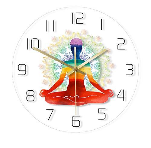 QAZQAZ Arco Iris Acuarela Meditación Yoga Espiritual Pose Reloj de Pared Simple Moderno Escala Zen Saludable Estilo Redondo Reloj de Pared sin Tic-TAC-Sin_LED