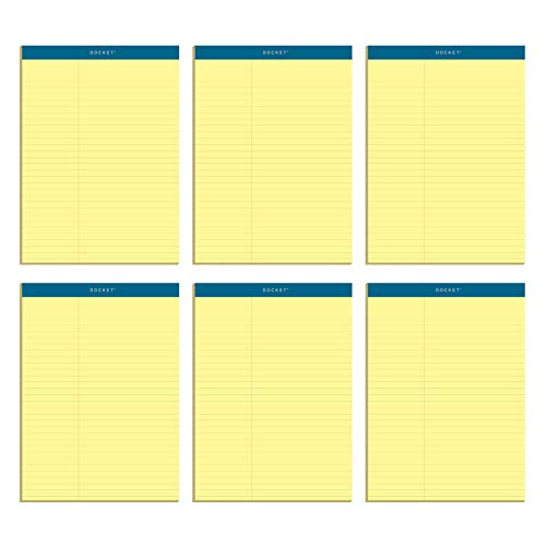 "Double Docket Writing Tablet, 8-1/2"" X 11-3/4"", Perforated, Canary, Law Rule, 100 SH/PD, 6 PD/PK (63396)"