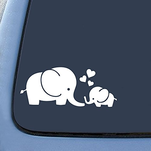 """Bargain Max Decals Elephant Love Sticker Decal Notebook Car Laptop 5.5"""" (White)"""