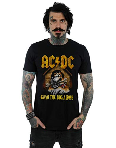 AC/DC Hombre Give The Dog A Bone Camiseta Negro Small
