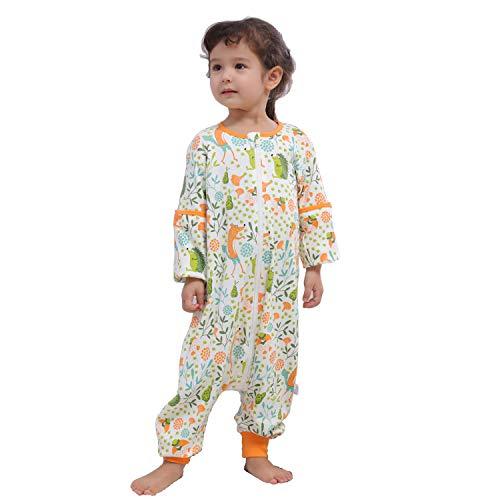 Baby schlafsack mit Beinen für Sommer/Frühling, süßer Cartoon-Schlafsack, neues Design Kurzarm-Schlafsack 0,5 tog (M/Höhe 92cm-101cm, Orangenfuchs)