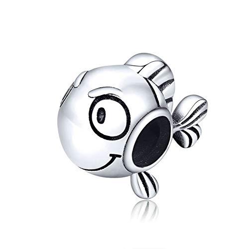 Charm a forma di gatto, in argento Sterling 925, con motivo a forma di cammello, coniglio, delfino, farfalla, per braccialetti Pandora e Argento, colore: Pesce carino., cod. CC-6759