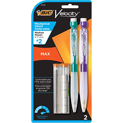 BIC Velocity Max Mechanical Pencil, Medium Point (0.7mm), 2-Count, Black