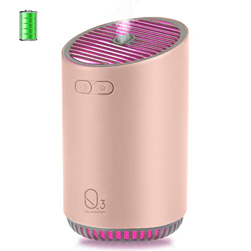 FAMEDY Cordless Humidifier Mini Travel Portable Cool Mist Humidifier, Wireless Humidifier Diffuser for Yoga, SPA, Personal Humidifier for Home, Car, Office, Auto Shut-Off, Runs up to 12 Hours (Pink)